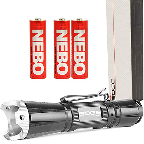 NEBO Edge 200 Compact Tactical LED Flashlight 200 Lumens with 2x EXTRA Nebo AA Batteries