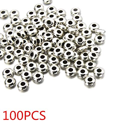 (Hot 100PCS Silver Alloy Round Spacer Beads DIY Manual Jewelry Making Wholesale)
