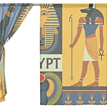 ALAZA Voile Sheer Window Curtain Egyptian Pyramid Anubis Bastet Pharaoh Scarab Door Way Tulle Curtain Drapes Panels for Living Room Bedroom Kitchen 55x78 inch, Set of 2