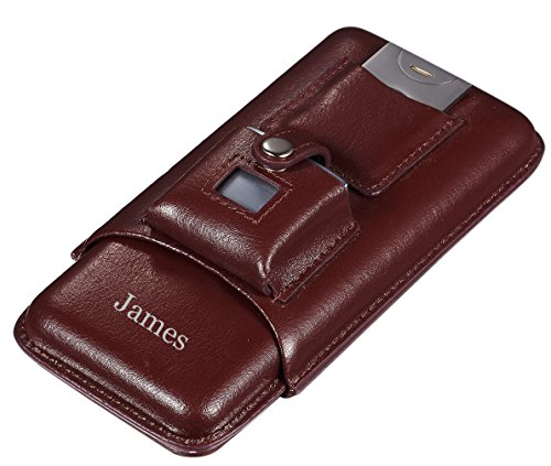 (Personalized Visol Renly Brown Leather Cigar Case with Lighter and Cutter with free laser engraving)
