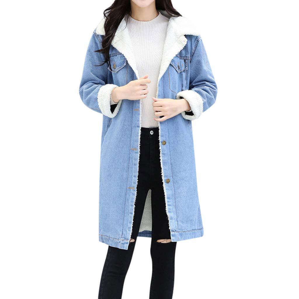 Yezijin Winter Womens Blue Jean Jacket Thicken Warm Fleece Denim Coat Punk Long Outwear 2019 New