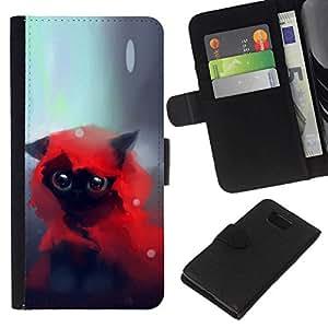 NEECELL GIFT forCITY // Billetera de cuero Caso Cubierta de protección Carcasa / Leather Wallet Case for Samsung ALPHA G850 // LINDO CAT A CABALLO ROJO