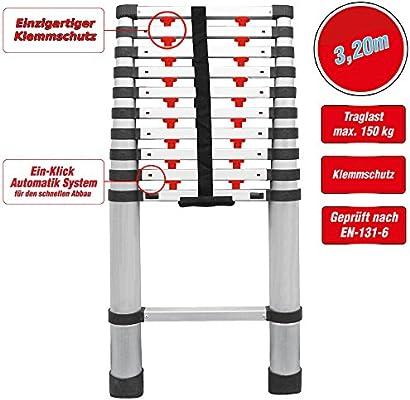 grafner® Calidad aluminio escalera telescópica (3,2 m con sistema automático de protección 1 clic Pinza Escalera telescópica Escalera Espalderas Escalera schiebel eiter 320: Amazon.es: Bricolaje y herramientas