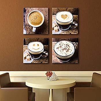 Noah Art Contemporary Coffee Cup Wall Decor Canvas Prints, Drinking Artwork  Coffee Painting Photo