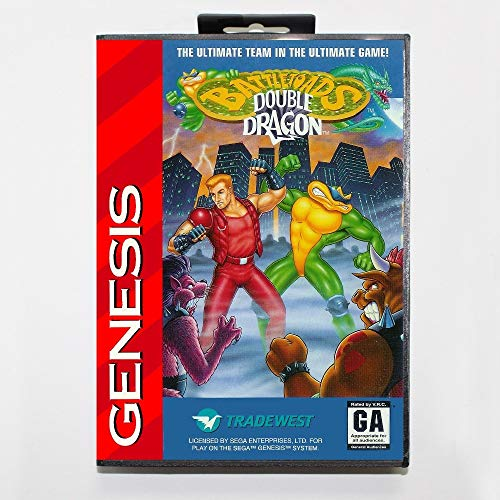 The Crowd Tradensen New 16 Bit Md Game Card - Battletoads & Double Dragon with Retail Box for Sega Genesis System