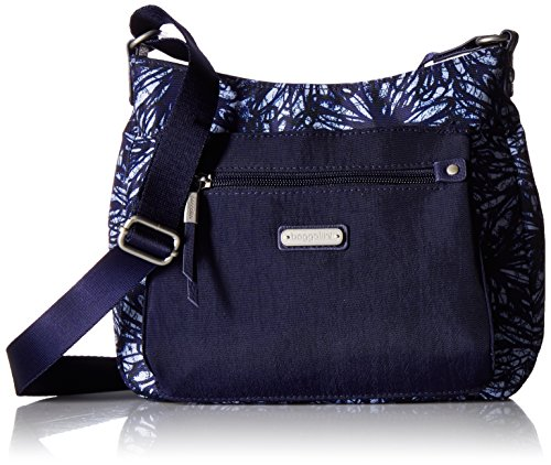 Baggallini Uptown Bagg with RFID Phone Wristlet, indigo floral