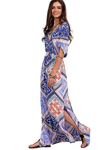 Maxi Vintage Print Milumia Boho Féminin Fendu Tie-taille Robe Bleu-1