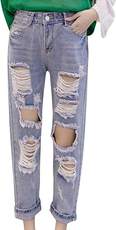 Mujer Vaqueros Slim Elasticidad Agujero Roto Jeans Suelto Casuales Rasgado Pantalones De Mezclilla Cintura Alta Color Solido Moda Pantalones Rectos Nueve Puntos Pantalones S 3xl Amazon Es Ropa Y Accesorios