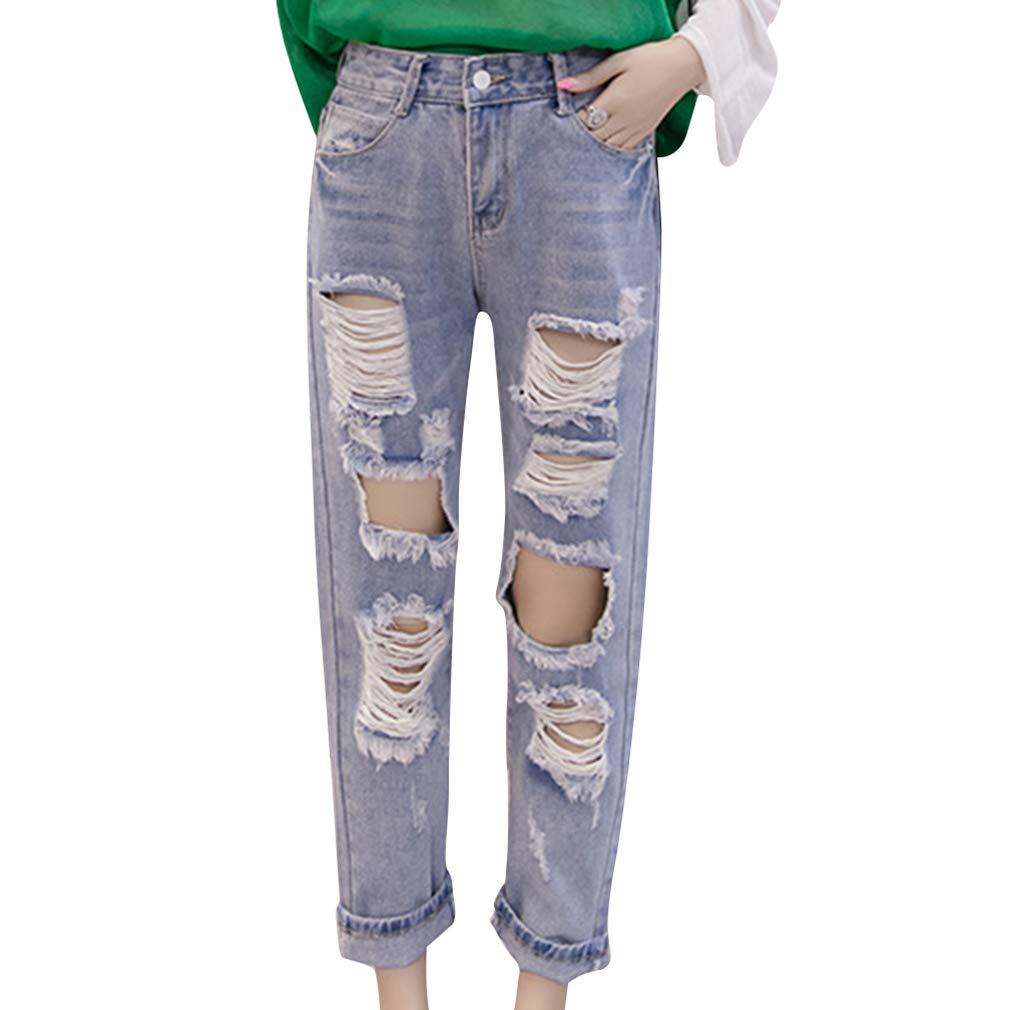 Mujer Vaqueros - Slim Elasticidad Agujero Roto Jeans Suelto ...