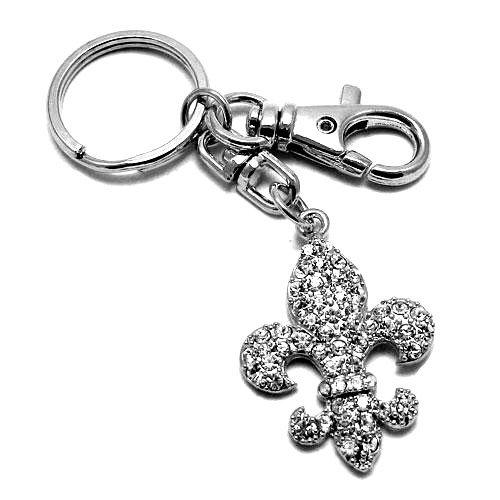 Large Crystal Fleur De Lis (New Arrival Western Bling Crystal Rhinestone Key Chains ~~Fleur De Lis (B))