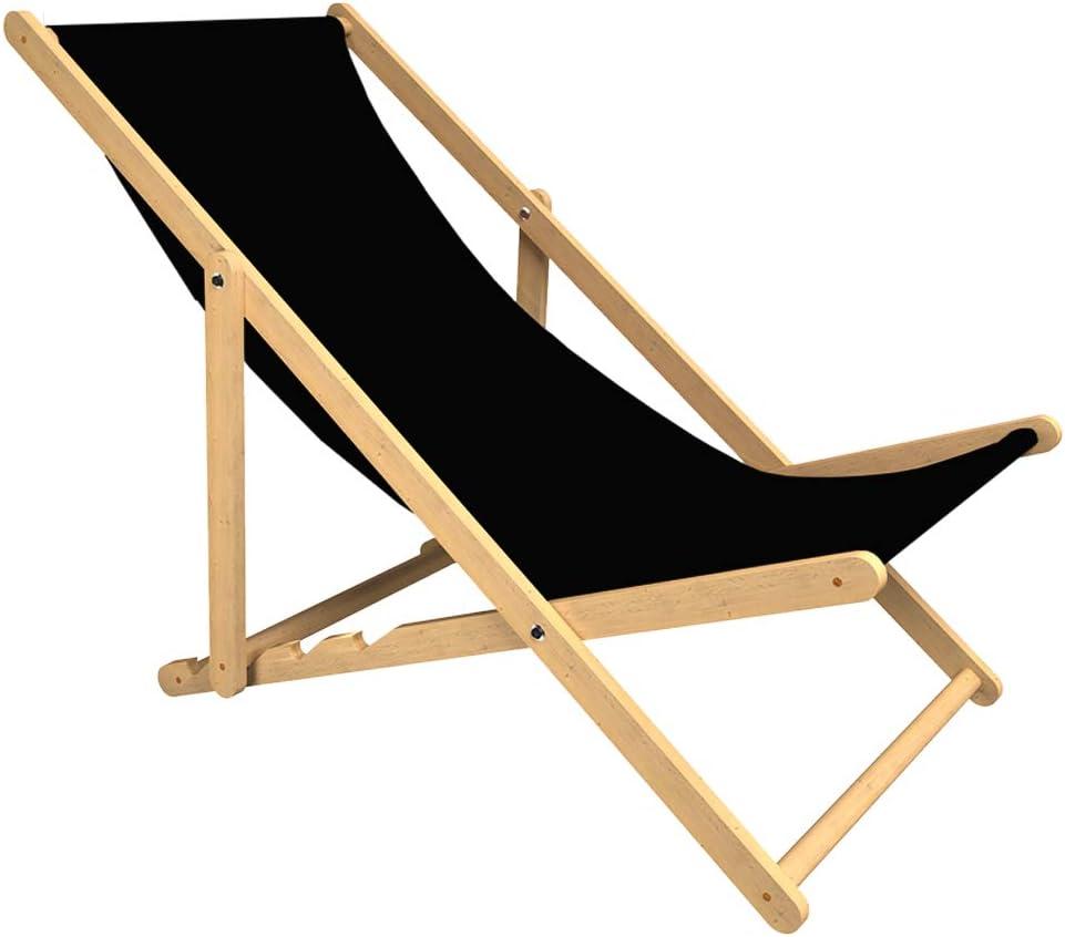 in legno di faggio Kubi Sport colore: nero Sedia a sdraio da giardino pieghevole