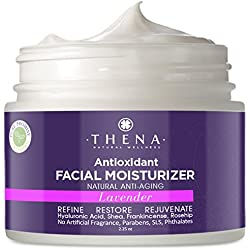 Lavender Oil Facial Moisturizer For Dry Sensitive Skin With Pure Shea Butter Hyaluronic Acid Rosehip, Organic Natural Hydrating Face Moisturizing Night Cream Anti Aging Wrinkle Repair Lotion Women Men