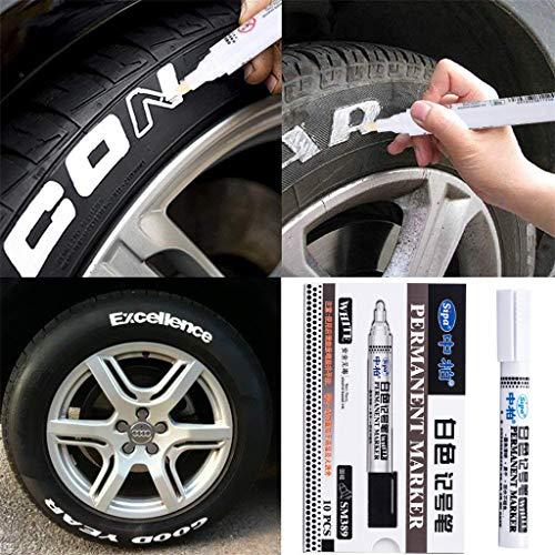 charts_DRESS 10Pcs Waterproof Permanent Paint Marker Pen for Car Tyre Tire Tread Rubber Metal (White)