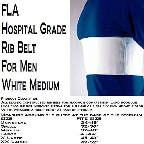 "Florida Orthopedics All Elastic Rib Belt, Male Sized, White, 6"" - Medium 37-40"""