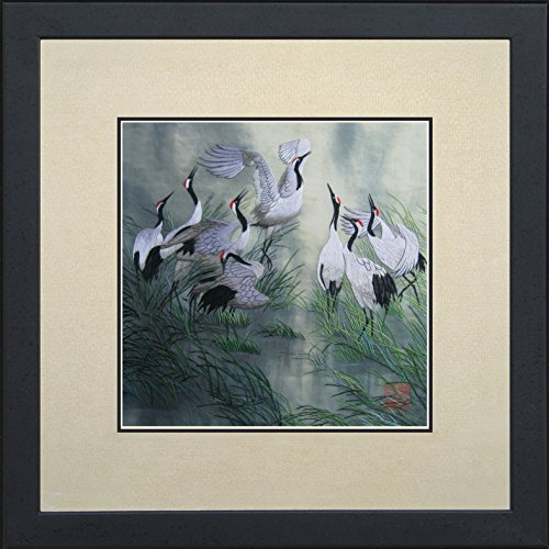 King Silk Art 100 Handmade Embroidery Framed Eight Red Crowned Japanese Cranes Oriental Wall Hanging Art Asian Decoration Tapestry Artwork Picture Gifts 31001WFB1
