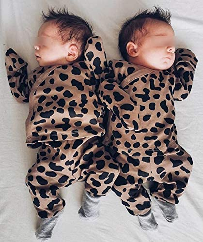 Luckinbaby Newborn Baby Boy Girl Leopard Outfits Infant Side Snap Shirt Top Pants 2Pcs Pajamas Set 0-18M