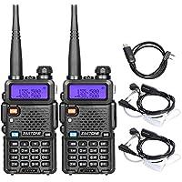 Zastone V8 Dual Band Two Way Radio 5W UHF/VHF 136-174/400-480Mhz 128 Channels Ham Handheld Walkie Talkie With Earpiece 2 Pack