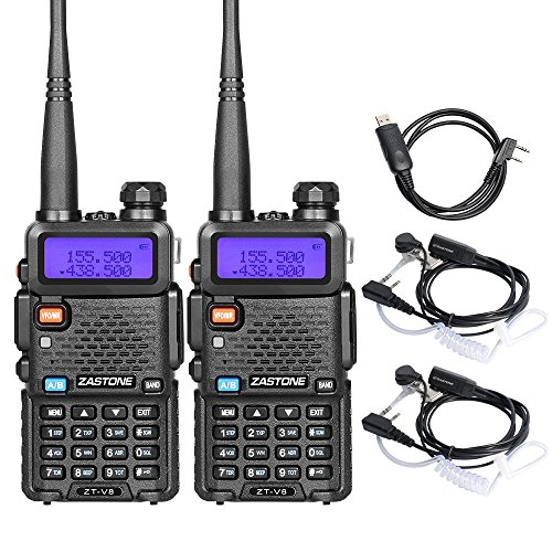 Zastone V8 Dual Band Two Way Radio 5W UHF/VHF 136-174/400-480Mhz 128 Channels Ham Handheld Walkie Talkie With Earpiece 2 Pack