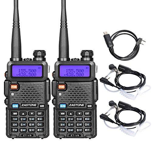 Zastone V8 Dual Band Two Way Radio 5W UHF/VHF 136-174/400-480Mhz 128 Channels Ham Handheld Walkie Talkie with Earpiece 2 Pack by Zastone