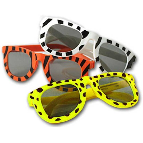 Fun Express Assortment Animal Print Sunglasses (1 Dozen), - Pack Sunglasses Novelty