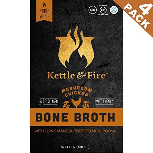 Mushroom Chicken Bone Broth - Collagen & Gelatin Rich Bonebroth for Ketogenic Diet or Paleo Snack w Lions Mane & 10g Protein. Gluten Free. Keto. Gut & Digestive Friendly Nutrition from Ancient Source