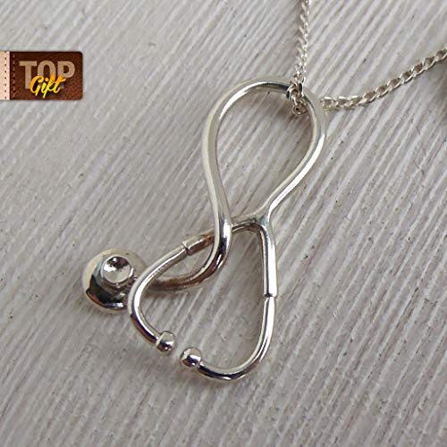 Gifts For Nurse Sterling Silver Jewelry Handmade Medical Doctor Stethoscope Necklace Med Charm Physician Doc Original High Quality Ambulance Memorable Present