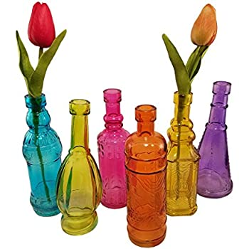 decorated glass bottles. Decorative Colored Vintage Glass Bottles for Bottle Tree  the Garden or Flower Bud Vases Amazon com