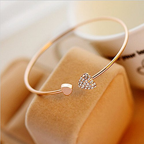Bhbuy Fashion Girl Simple Style Love Heart Rhinestone Pendant Open Bangle Bracelet Gold