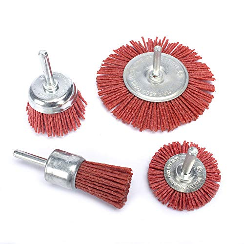 4Pcs Nylon Filament Abrasive Wire Cup Brush Nyalox End Brush Kit for Drill Rotary Tool with 1/4'' Shank