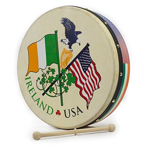 Waltons 15 Inch USA IRELAND Bodhrán - Handcrafted Irish Instrument - Crisp & Musical Tone - Hardwood Beater Included w/ Purchase Perfect for St Patrick's Day by Waltons