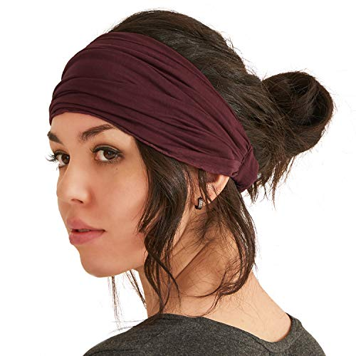 CHARM Headband Bandana Japanese Style - Mens Head Wrap & Womens Hair Band Maroon L