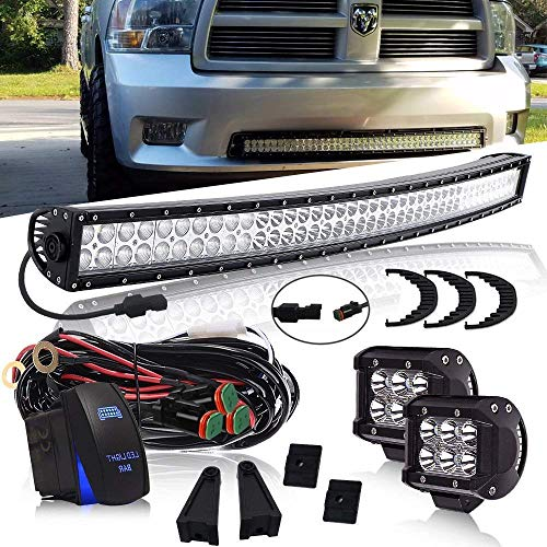 240W Curved Led Light Bar On Grill Windshield + 4Inch 18W Driving Fog Light W/DT Connector Wiring Harness Rocker Switch for Offroad Boat ATV Truck Jeep Wrangler Polaris RZR Dodge ()