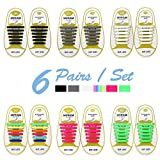 HYFAM No Tie Shoelaces for Kids - Best in Sports Fan Shoelaces - Waterproof Silicone Flat Elastic Athletic Running Shoe Laces with Multicolor for Sneaker Boots Board Shoes and Casual Shoes 6 Pack