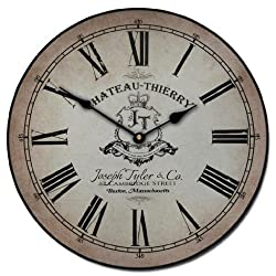 Chateau Thierry Parchment Wall Clock, Available in 8 Sizes, Most Sizes Ship 2-3 Days, Whisper Quiet.