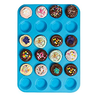 Bessmate Silicone Muffin Pan -24 Cups Blue Mold & Baking Tray- Reusable, Non-Stick Bakeware For Cupcakes and Cakes ,Dishwasher /Microwave Safe