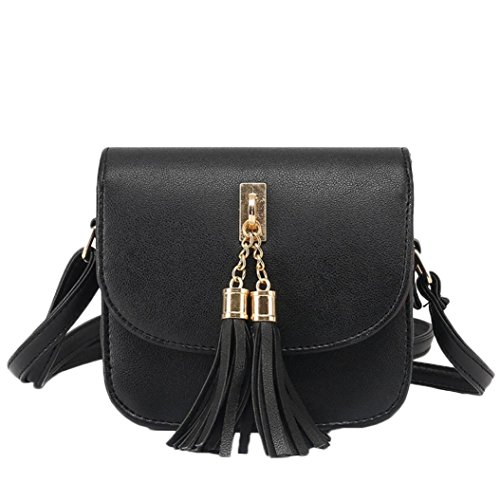 Fashion Women Candy New Bags Tassel Shoulder Chains Handbag Women's Stylish Bag Black Messenger Bag Small qfCXw