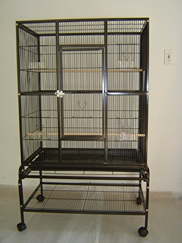 Everila PCFT32 New Bird Parrot Large Cage 32x20x53 3/8 Bar Spacing Cockatiel Conure Finch Parakeet Senegal Sugar Glider Chinchilla Ferret PCFT32B