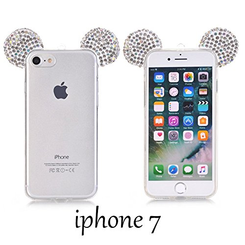 iPhone 5/5S/SE/6/6S/6S+PLUS/7/7 PLUS Case, 3D Silver/Clear Mickey Mouse Crystal Diamond Bling Rhinestone Ears TPU Rubber Silicone Gummy Skin Cover with Lanyard (iPhone 7)