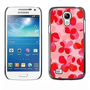 TopCaseStore / la caja del caucho duro de la cubierta de protección de la piel - Floral Pattern Pink Peach Summer - Samsung Galaxy S4 Mini i9190 MINI VERSION!