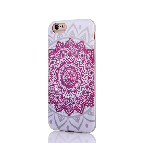 Coque pour iPhone 6/6S/6 plus/6S Plus, aibousa® [Styles ethnique] superweich, FIN, Arabesques Motif géométrique, diamant cristal, TPU, rose, iPhone 6 Plus/6S Plus (5.5'')