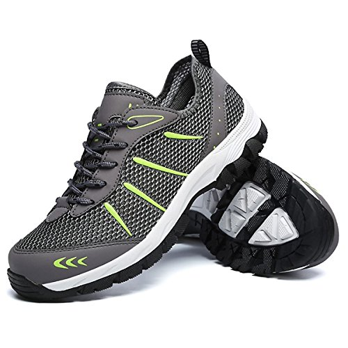 CHNHIRA Baskets pour Homme Respirant Chaussures de Sport Doux d'escalade Chaussures de Randonnée Respirantes Athlétique Sneakers Courtes Fitness Tennis Gris1 1vSmay