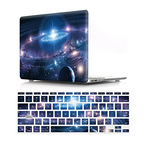 HRH 2 in 1 Galaxy Universe Starry Sky Laptop Body Shell Protective Hard Case Cover and Matching Design Silicone Keyboard Cover for MacBook Air 11 inch 11.6
