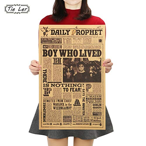 Amazon.com: Batop Classic Movie Kraft Paper Poster - Harry Potter Daily Prophet Wall Sticker - Bar Cafe Decorative Painting (42X27cm): Home & Kitchen