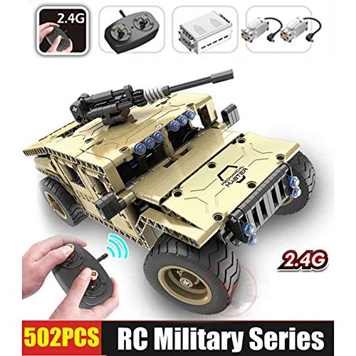 ElevenY 502pcs Remoter Control Block RC Armed Hummer Car Fit Legoings Technic Military City Remote Control Building Block Brick DIY Toy for Kids Adult Christmas Birthday Collection Gift