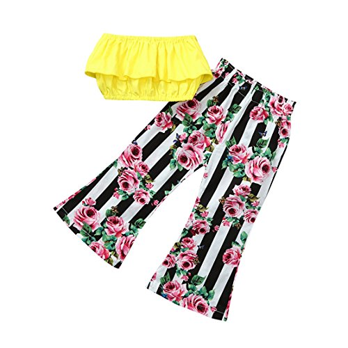 ZHANGVIP 2018 New 2Pcs Toddler Baby Kids Girls Solid Off Shoulder Tops+Floral Pants Set Outfits (24M, Yellow I)
