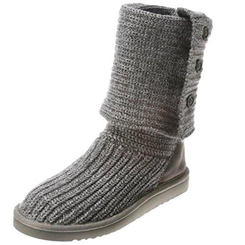 Binying Women's Knit Round-Toe Flat Button Snow Boots Grey OoNFtHTwK