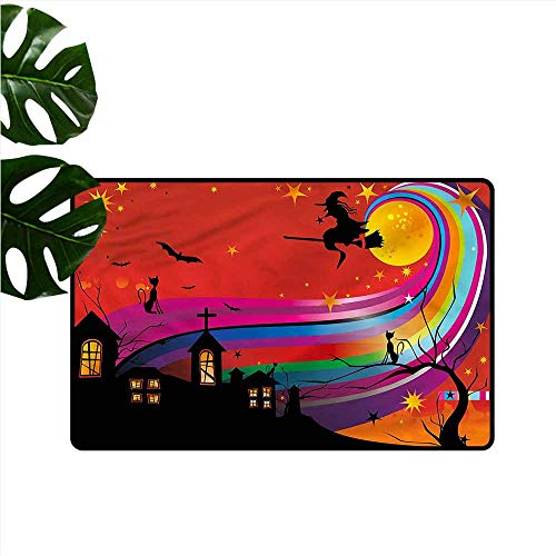 DUCKIL Waterproof Door mat Halloween Witch Woman on Broomstick Easy to Clean Carpet W20 xL31 (Bunch Of Female Dogs And Garden Tools)
