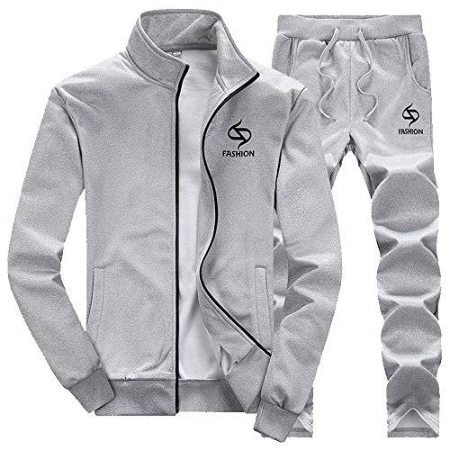 Homme Longues Pantalons Veste Manches Pièces Jogging Moika shirt Zipper Sweat Survêtement 2 Baseball Gris Uqd1wFx