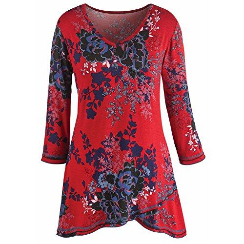 Women's Tunic Top - Red Asian Print Three Quarter Sleeve V-Neck Blouse - 1X