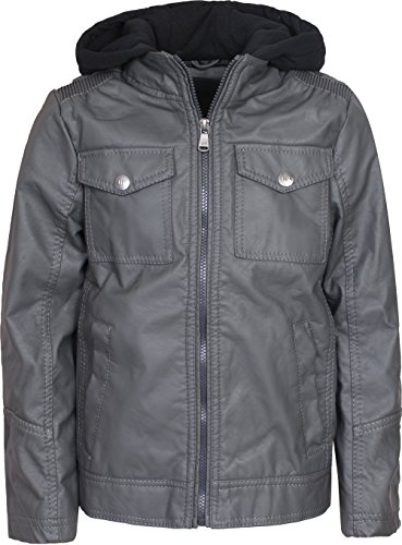 Faux Leather Jacket With Fleece Hoodie, Dark Charcoal, Size 8' ()